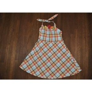 Gymboree Island Getaway Plaid Halter Flower Dress
